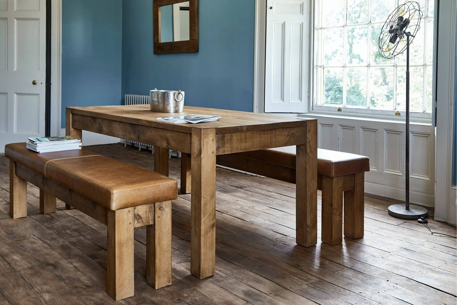 The Rafter S Table Solid Wood Dining Table Leather Dining