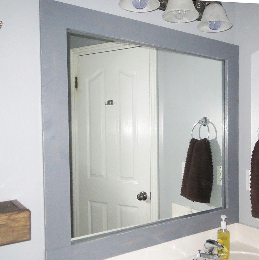 Diy Stick On Mirror Frame Bathroom Mirrors Diy Bathroom