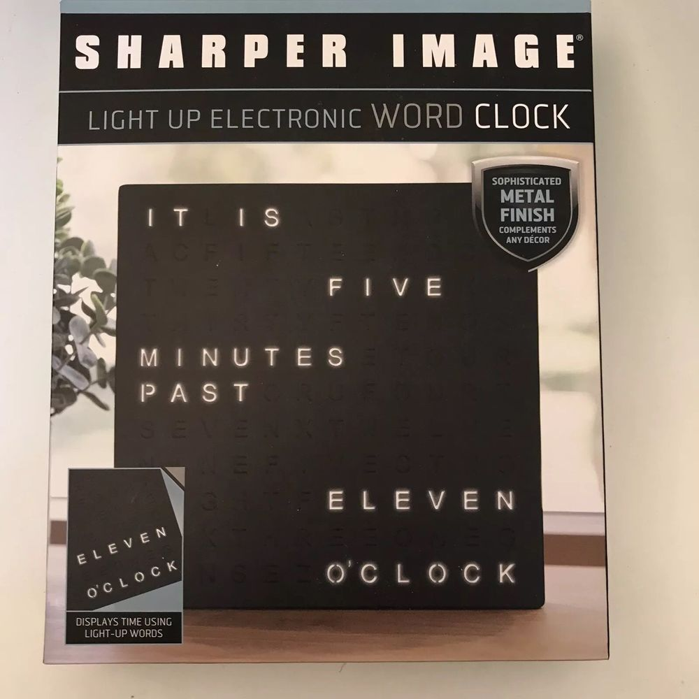 Sharper Image Light Up Electronic Word Clock Spellout