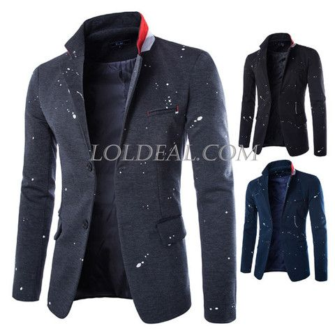 Mens Ink Splashes Printing Casual Two Buttons Blazer