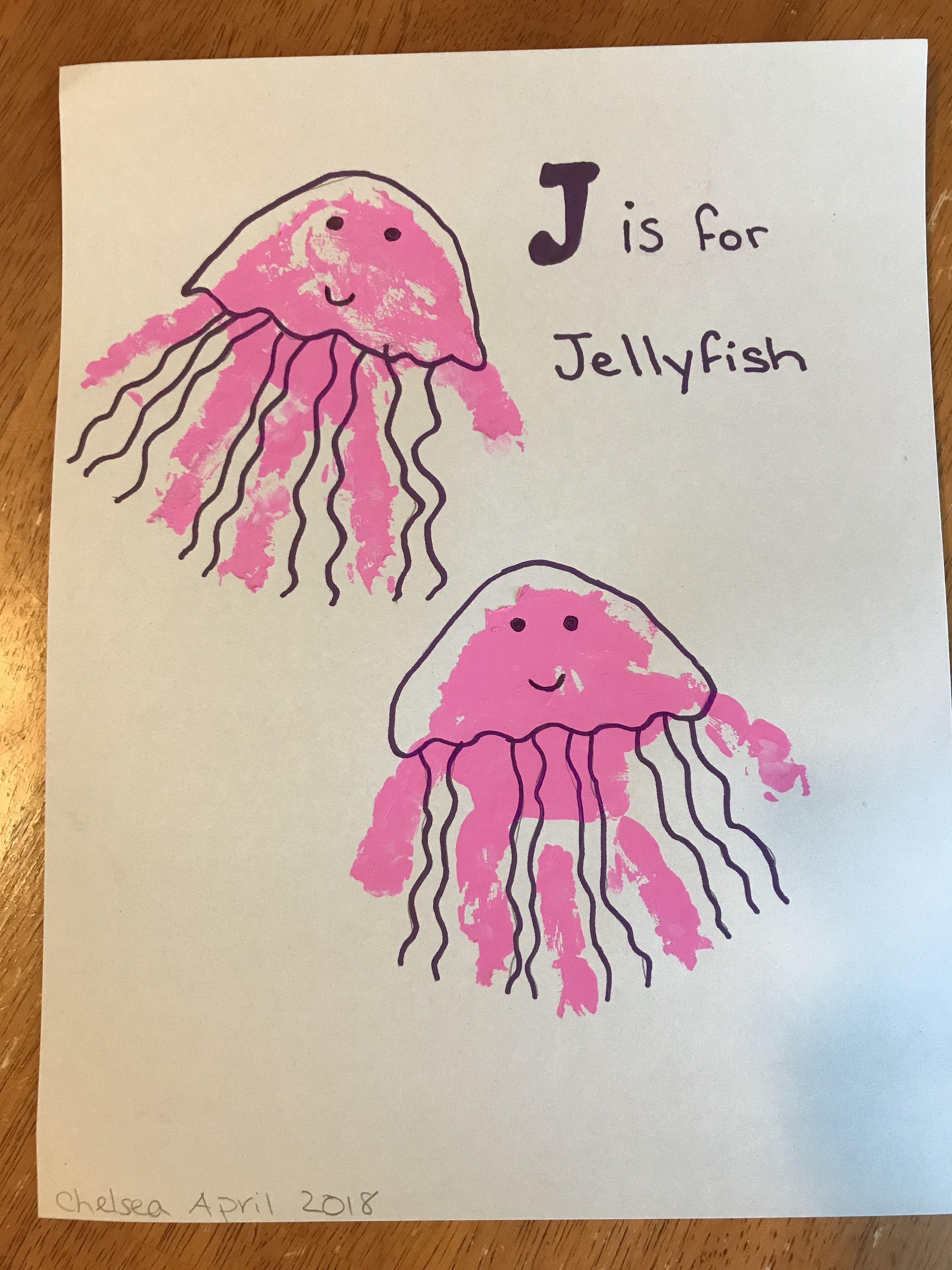 J Is For Jellyfish Handprint Art