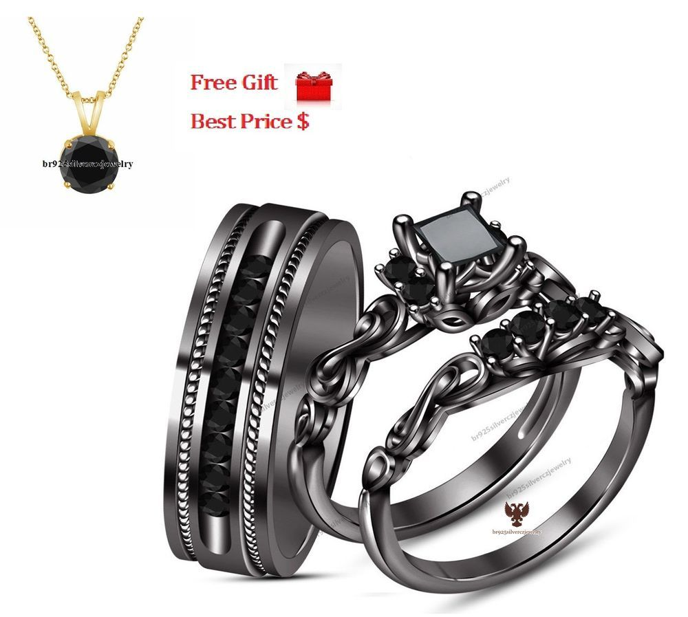 Cute K Black Gold Real Black Princess Cut Diamond His u Her Wedding Trio Ring Set