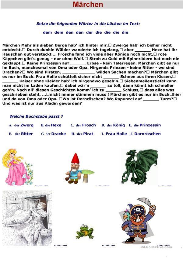 Märchen   Lesenverstehen - DaF   Pinterest   Worksheets