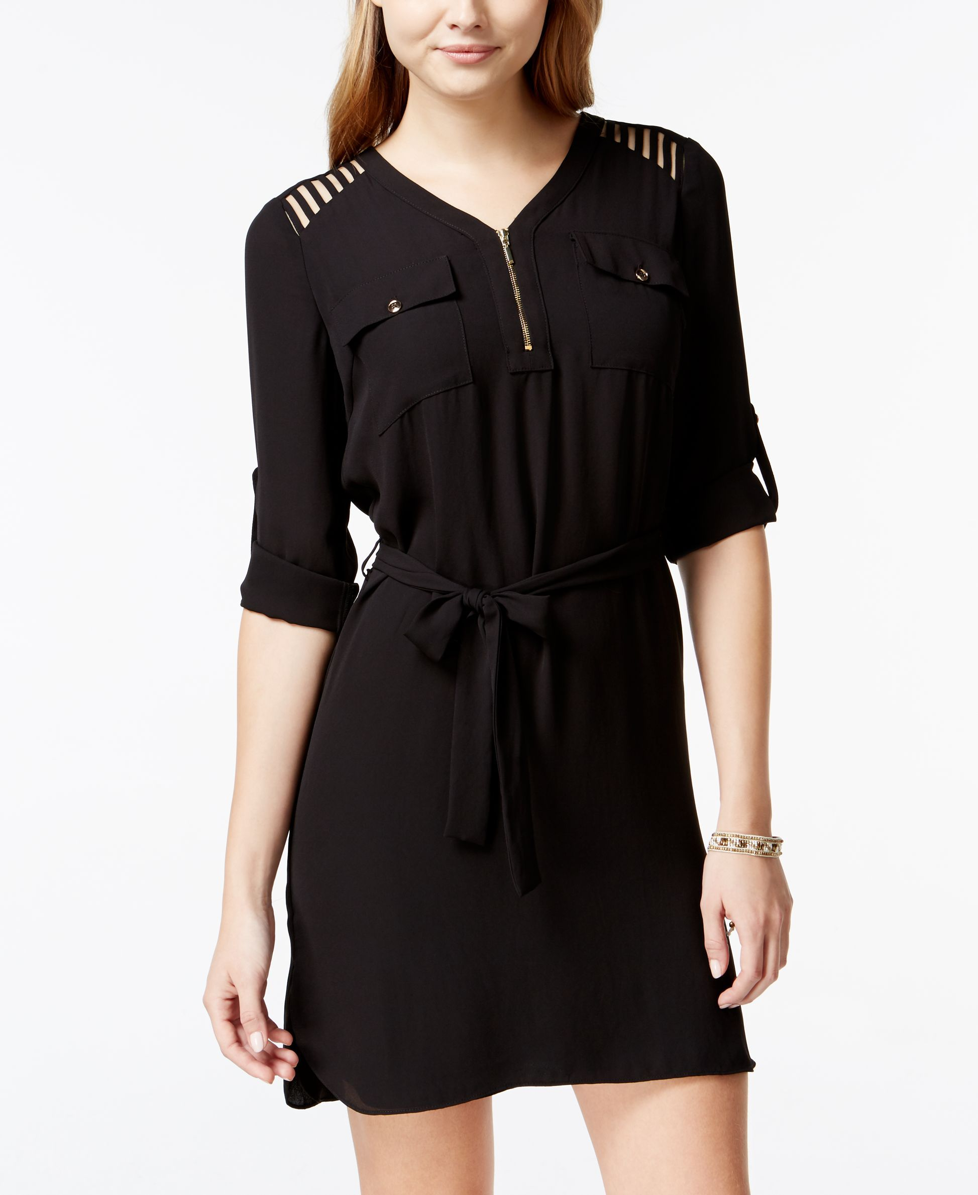 Xoxo Juniors' Lattice-Cutout Half-Zip Shirtdress