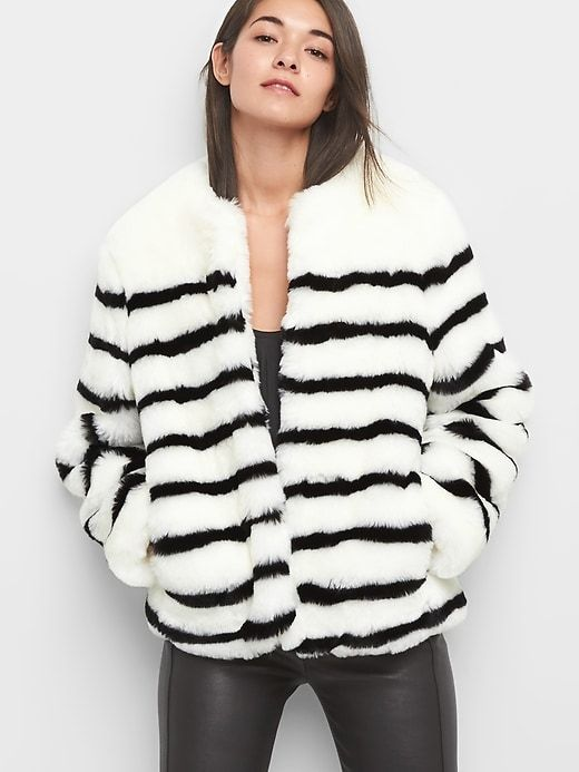 693e2e5230 Gap Womens Stripe Oversize Faux-Fur Coat Black & White | Products ...