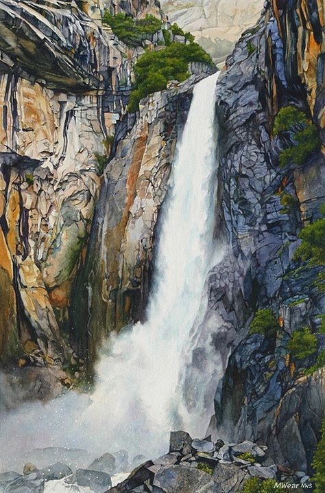 Watercolor Landscape Marilynwear Com Yosemite And Local Landscapes En 2020 Paisaje Japon Dibujos De Agua