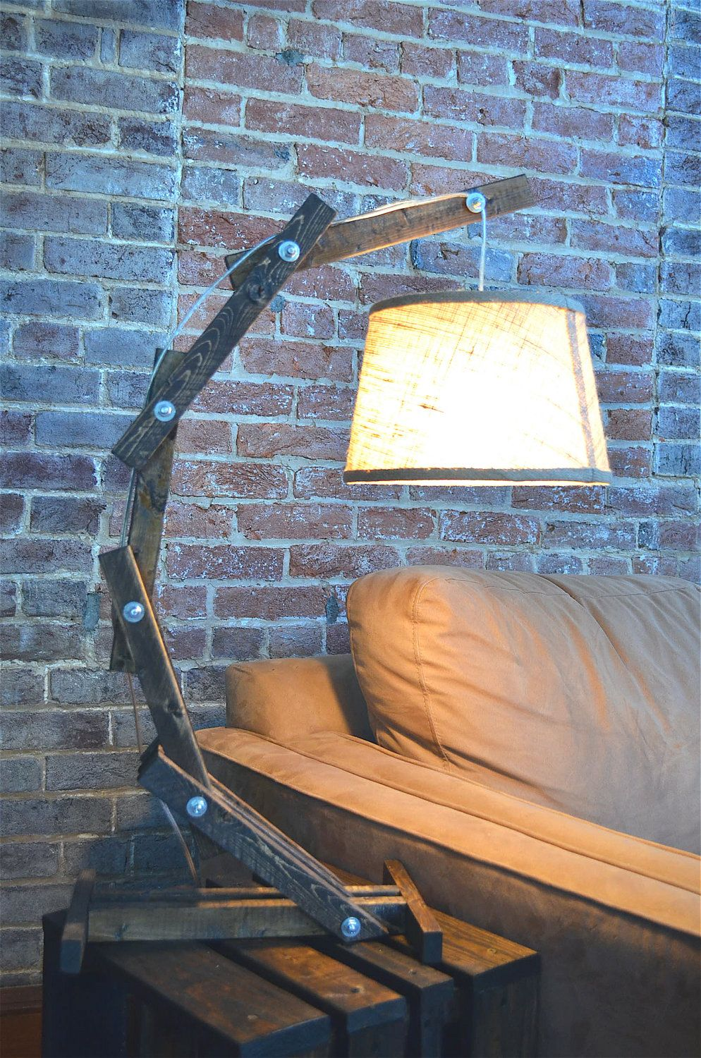Rustic Wooden Cantilever Table Lamp. $67.00, via Etsy. Might make a cool  floor - Rustic Wooden Cantilever Table Lamp. $67.00, Via Etsy. Might Make