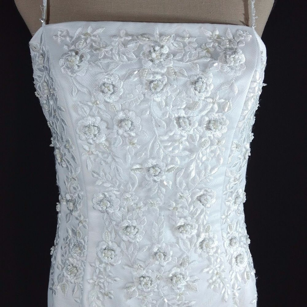 Mori lee sz wedding dress white beaded lace sheath button back
