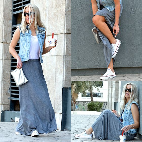 jersey maxi skirt studded jean vest and converse sneakers