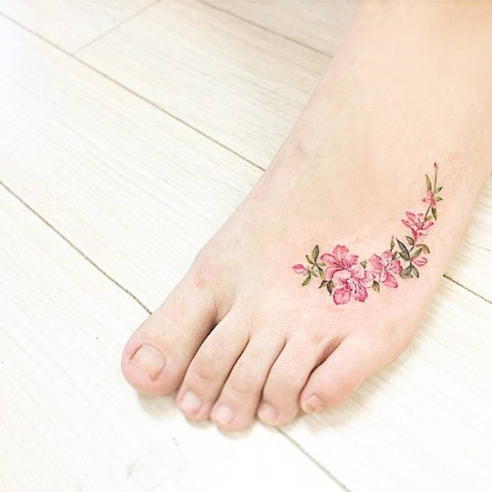 A Feet Tattoos Apple Blossom Tattoos Foot Tattoos For Women