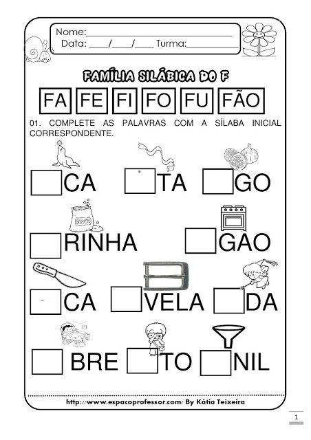Pin De Priscila Alves Em Familia Silabica Em 2020 Com Imagens