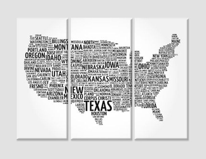 USA Word Cloud Map USA Cities Map Wall Art United States Map Canvas ...