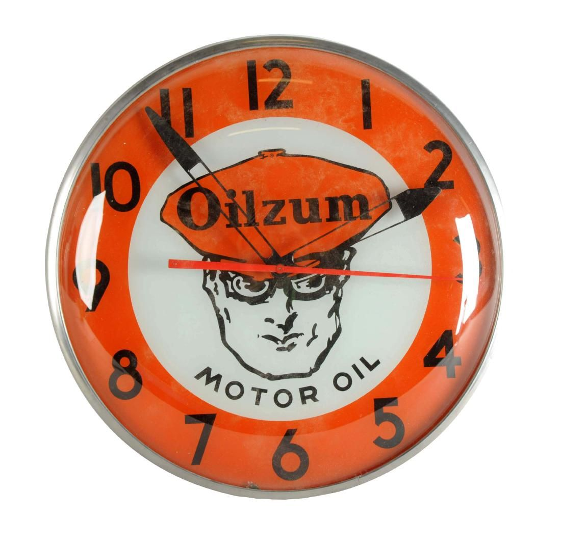 Rare Oilzum Motor Oil Lighted Clock Oil light, Clock