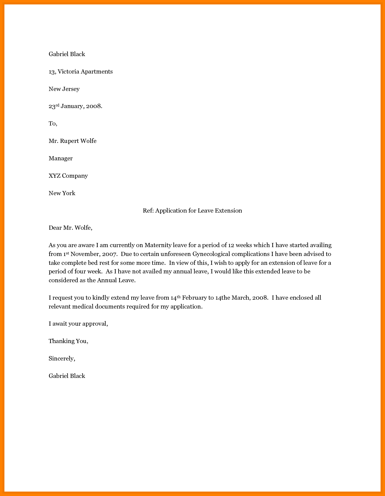 sample of maternity leave letter for employer