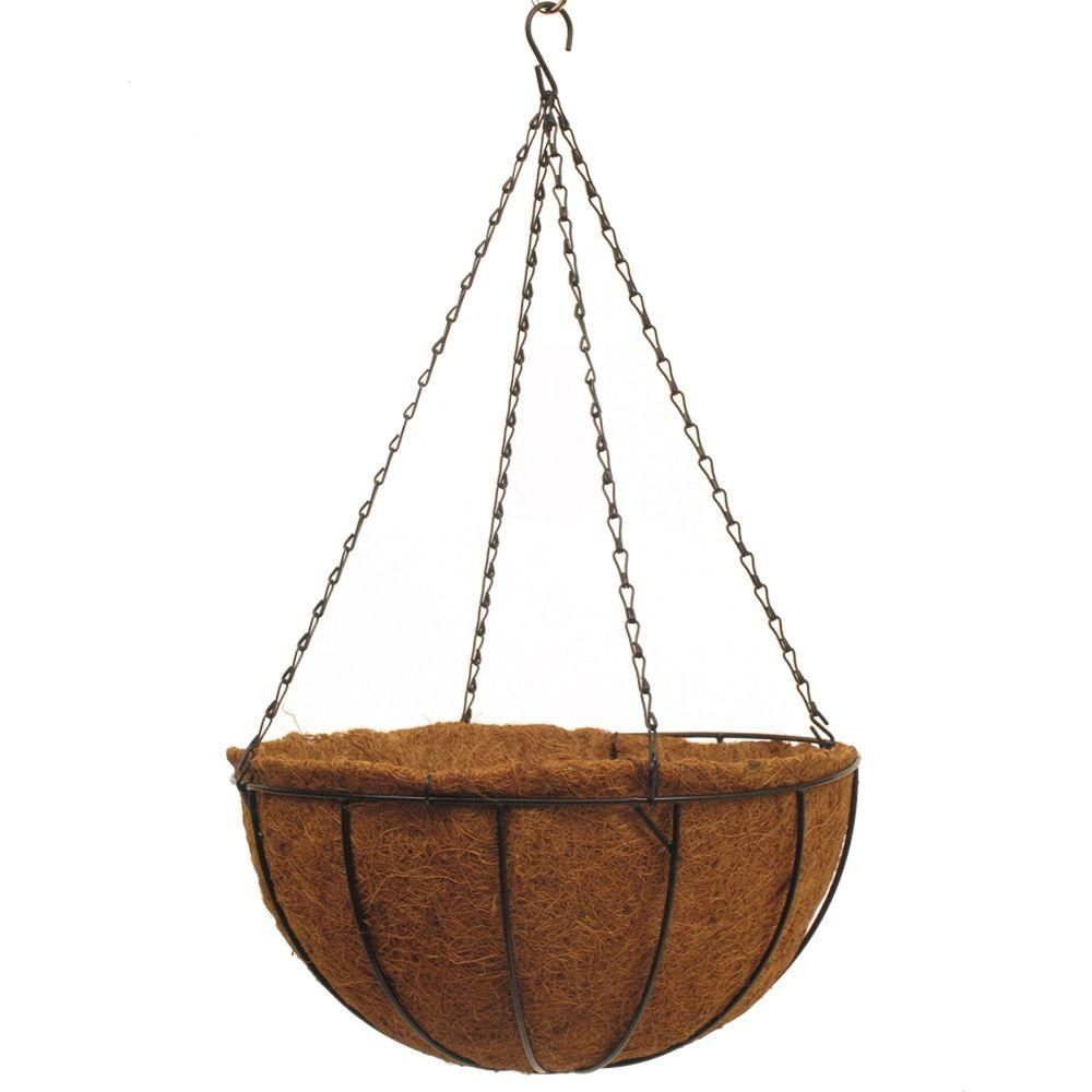 Pride Garden Products Traditional 16 In Dia Black Metal Hanging Basket With Aquasav Coco Liner Hanging Baskets Hanging Planters Hanging Baskets Diy