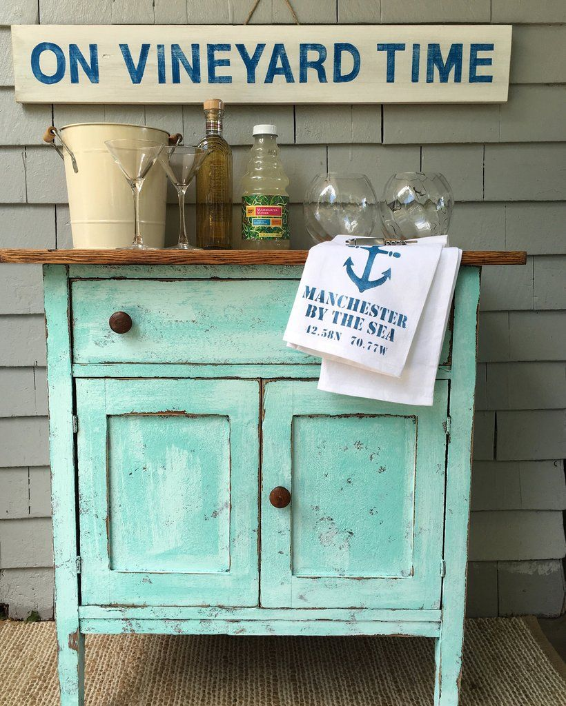 This cute antique oak cabinet is painted turquoise aqua with a textured  salt wash finish. - This Cute Antique Oak Cabinet Is Painted Turquoise Aqua With A