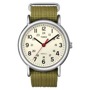 Timex Weekender™ Slip Thru Nylon Strap Watch - Green T2N651JT : Target