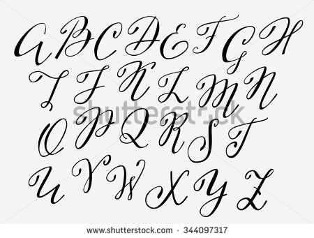 Handwritten calligraphy flourish font. Capital letters