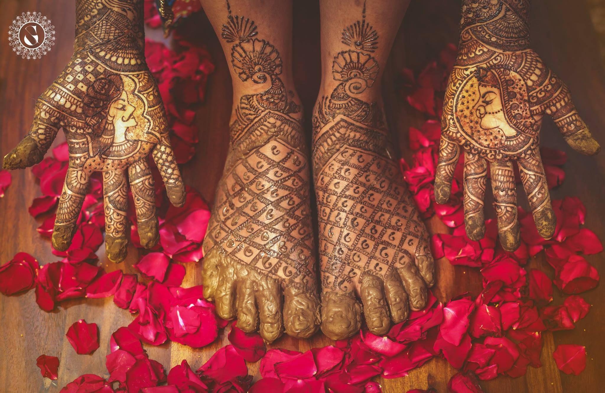 Bridal Mehndi : Bride and groom face bridal mehndi