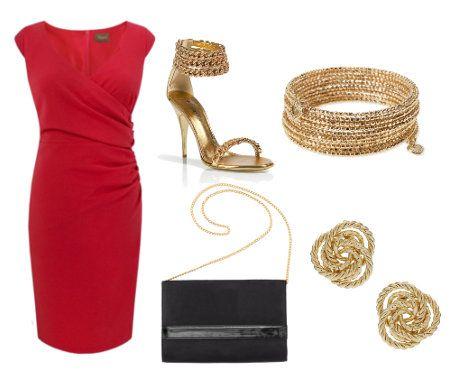 Vestido Rojo Con Accesorios Dorados Vestidos Dama Outfit