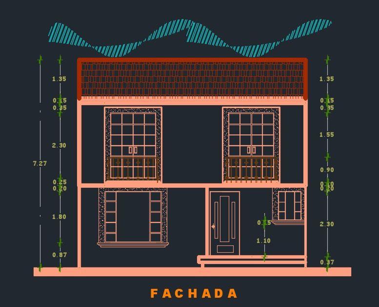 Fachada plano de casa dwg cad ideas para realizar for Realizar planos de casas