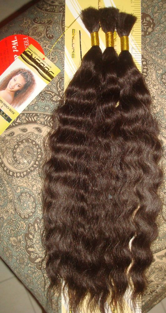 100 Human Hair Encore 3pc French Bulk 14 Wet Wavy French