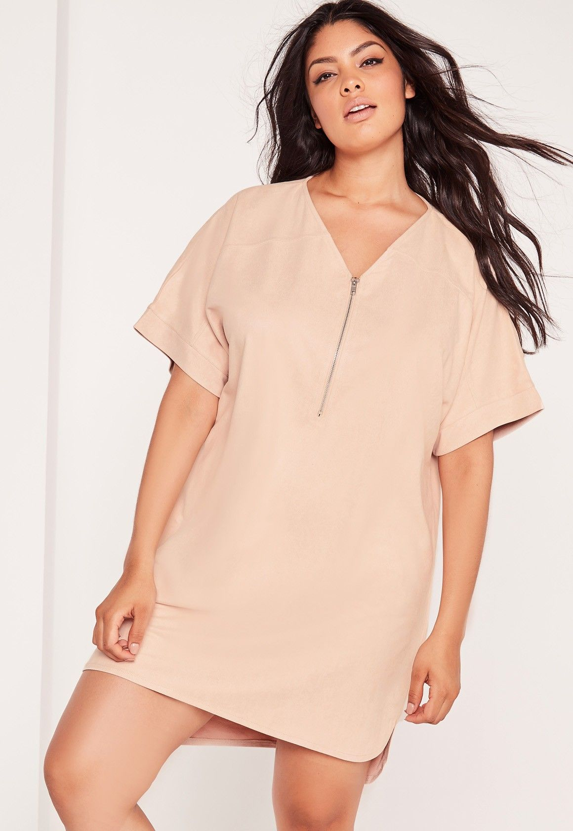 Missguided - Plus Size Faux Suede Zip Up Shift Dress Nude ...