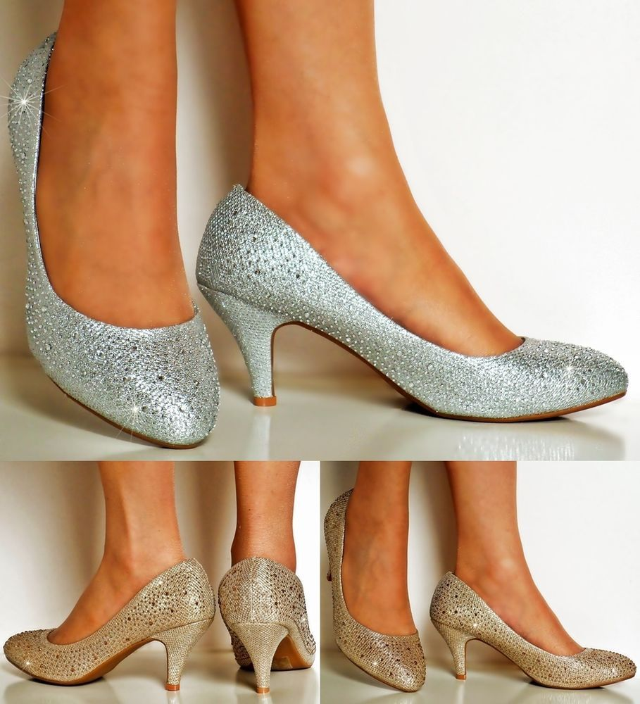 Details about Ladies Diamante Low Heel Gold/Silver Party Bridal