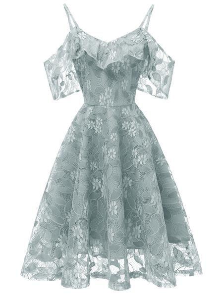 Frauen Spaghetti-Trägern Lace ärmelloses Kleid #cocktailpartydresses