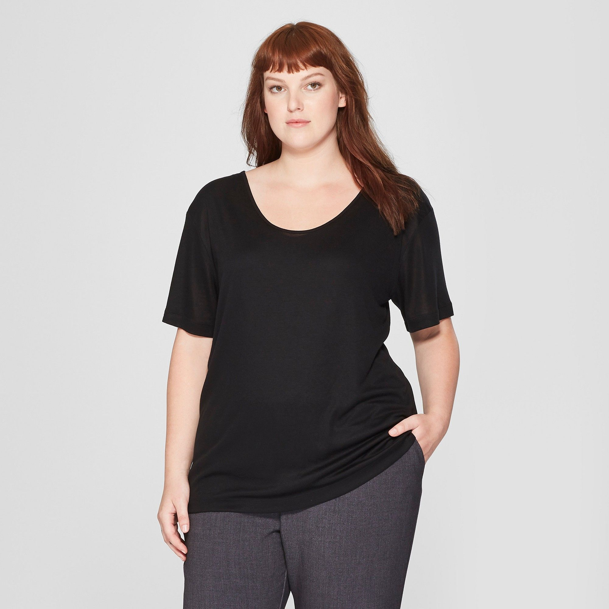 d1a16be4229 Women s Plus Size Short Sleeve Drapey T-Shirt - Prologue Black 1X ...
