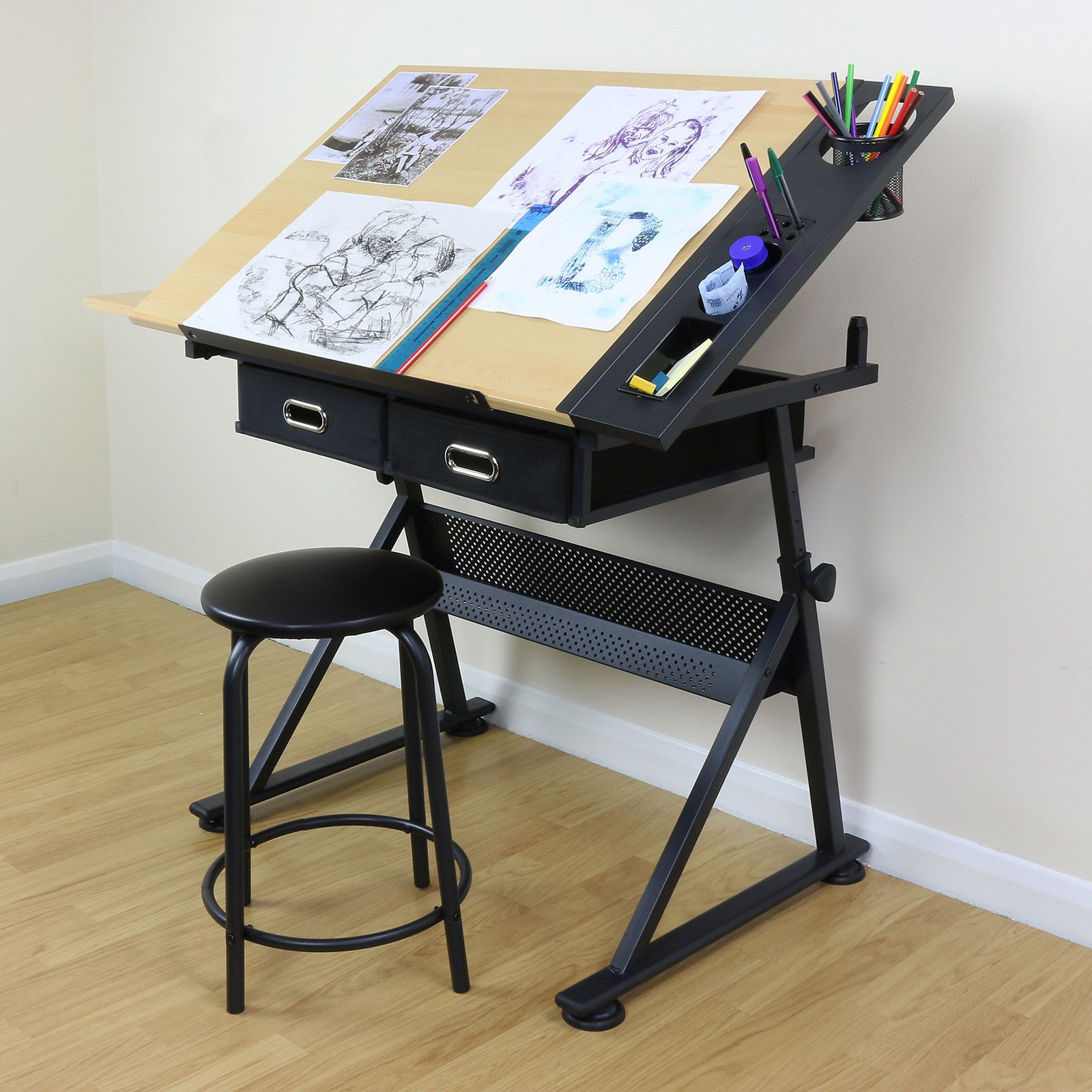 Adjustable Drawing Board Drafting Table With Stool Craft Architect Desk Stand Ebay Architects Desk Architect Table Drawing Desk