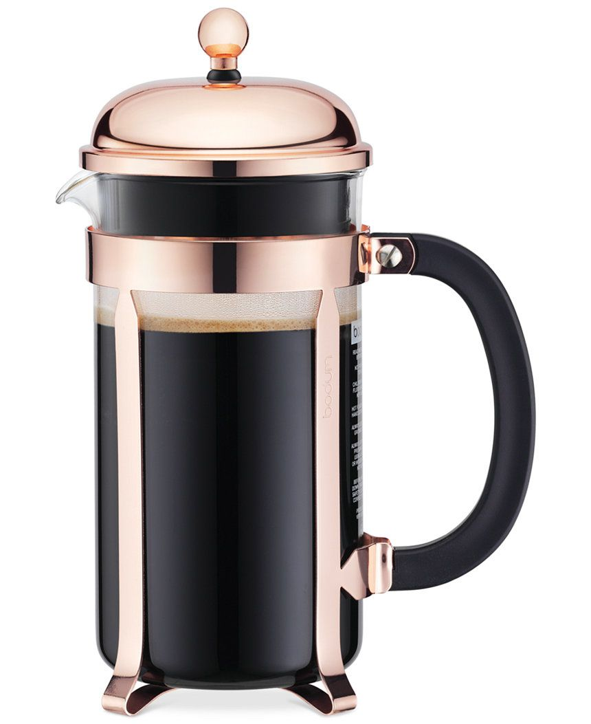 BODUM CLASSIC CHAMBORD COPPER FRENCH PRESS COFFEE MAKER