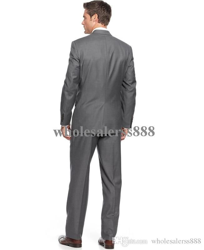 2015 New Style Dark Gray Notch Laple Groom Tuxedos Best Man ...