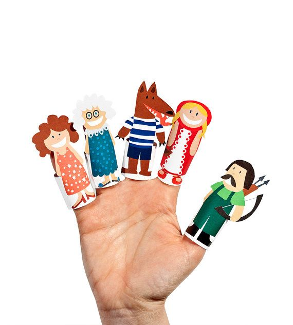 Little Red Riding Hood papel dedo Títeres - PDF imprimible Toy - bricolaje Kit Paper Toy - Favor fiesta de cumpleaños