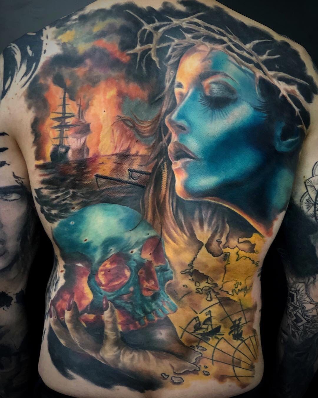 Colour realism back tattoo realismtattoo colourtattoo