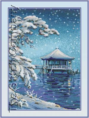 Japanese scenery counted cross stitch