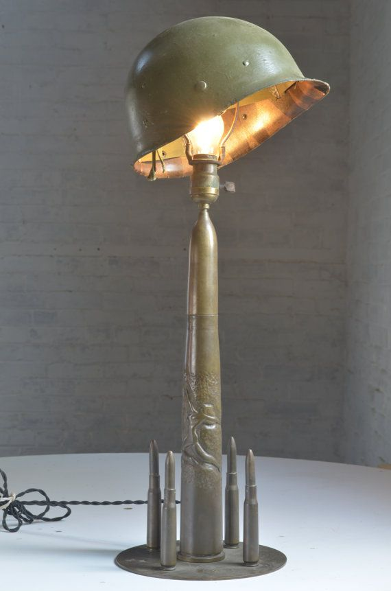 Vintage Military Trench Art Table Lamp Light by ScovilleBrownCo - lamparas para escaleras