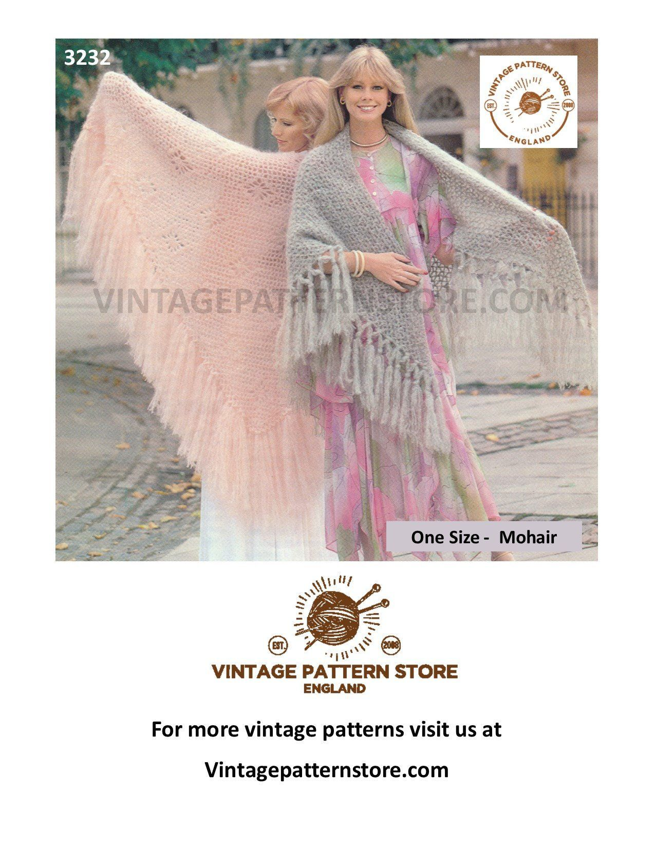70s Mohair shawl knitting pattern, Womens large mohair ...