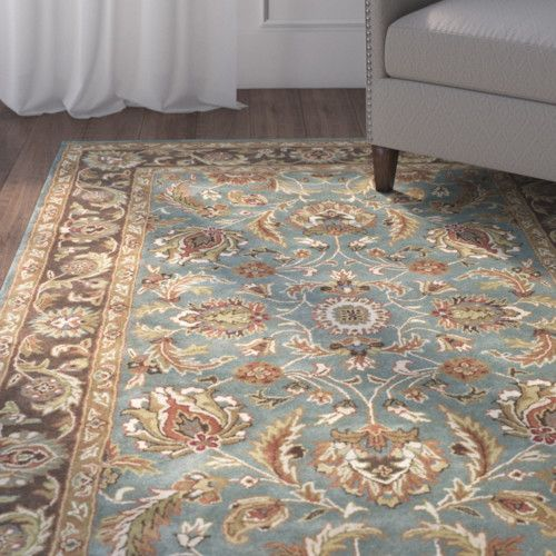 Cranmore Traditional Hand Tufted Wool Blue Brown Area Rug Brown
