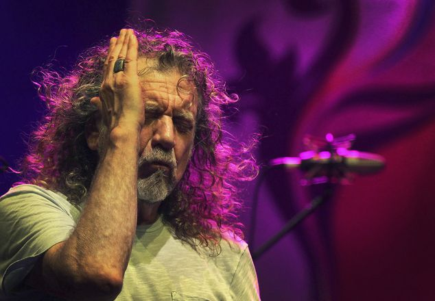 Robert Plant performing at the Timbre Rock and Roots Concert in Singapore, March 21, 2013.  Photo © AP/Wong Maye-E.