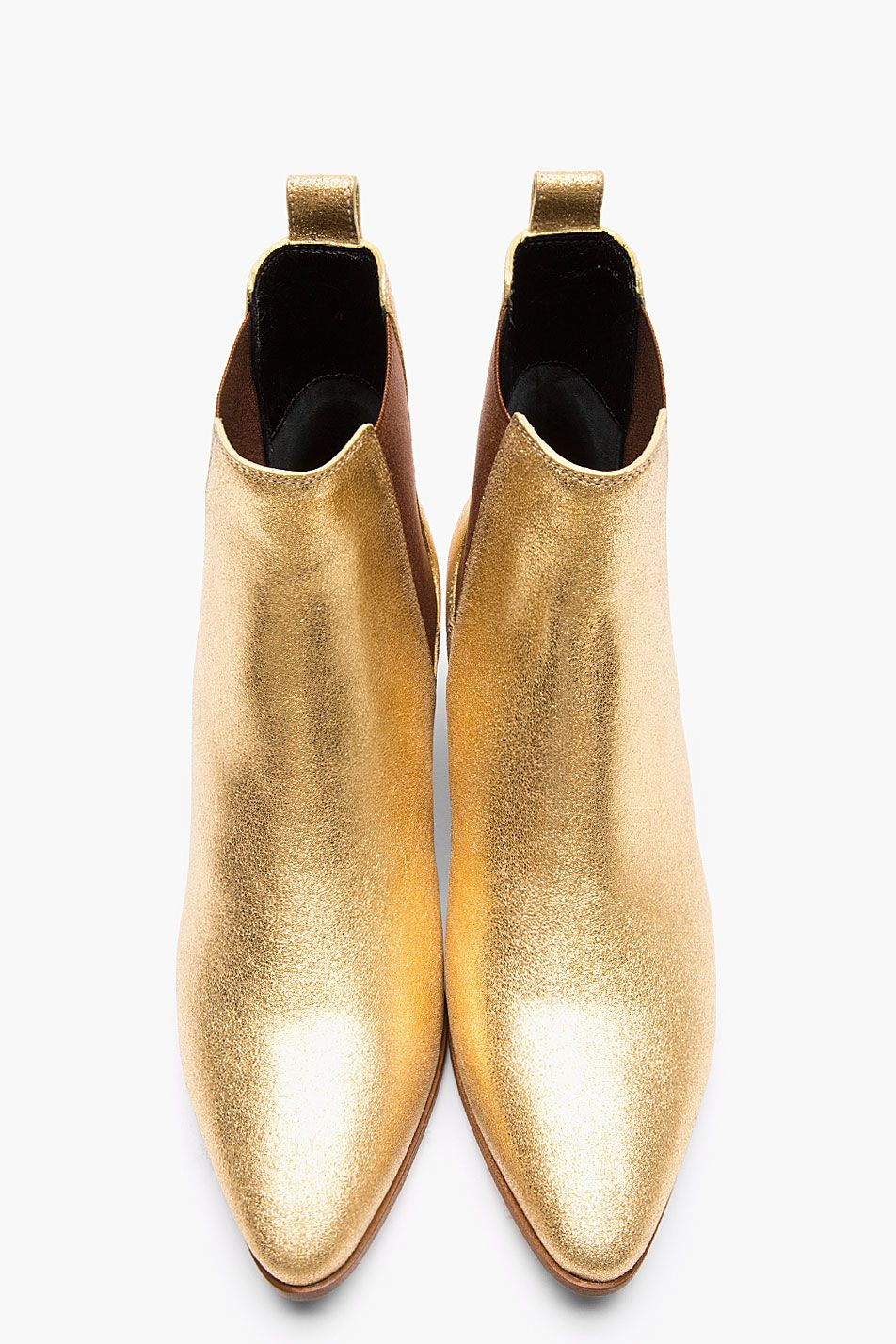 SAINT LAURENT Metallic Gold Leather Chelsea Ankle Boots  aad5f2b1f57f