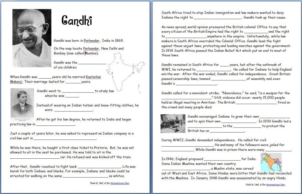 Free printable Gandhi-Worksheet and other worksheets ~ATS ...