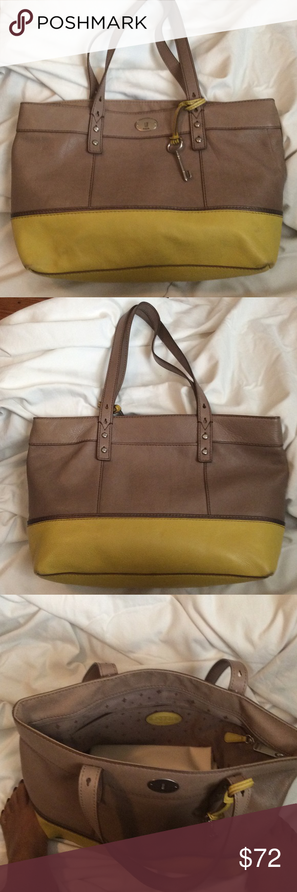 Leather  two-tone shoulder bag. Stylish, classic shape shoulder tote. Has the signature Fossil key & includes dust bag. Small smudge on left bottom corner. Fossil Bags Shoulder Bags