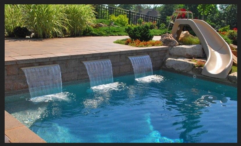 Small Pool With Slide Google Search Swimming Pool Pictures Pool Fountain Swimming Pool Fountains