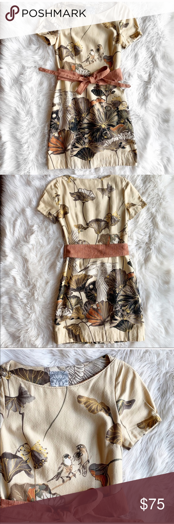 a42dd9208f753 Anthropologie Floreat Snowy Egret Shift Dress Anthropologie Floreat Snowy  Egret Shift Dress in excellent used condition