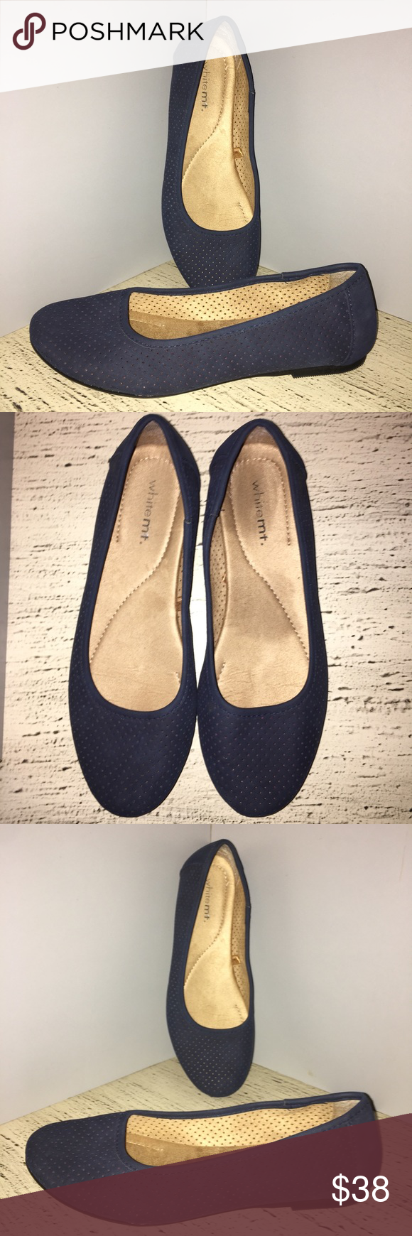 Beautiful White Mt Blue Shoes With Perforations White Mountain Stylish Flat Blue Shoes With Cute Perforations You Are Going To Love These Beautiful