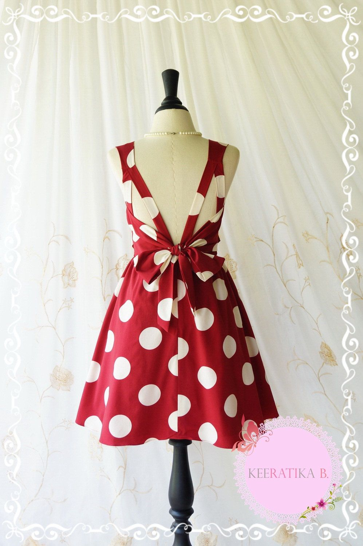 A party dress v shape polka dot dress burgundy white polka dot prom