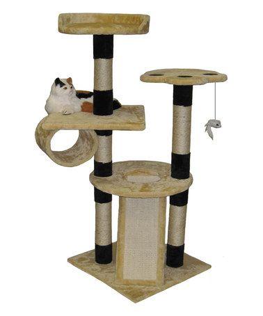 This Beige Black Six Level Cat Condo Scratcher Is Perfect Zulilyfinds Cat Scratcher Cat Bed Furniture Cat Climber