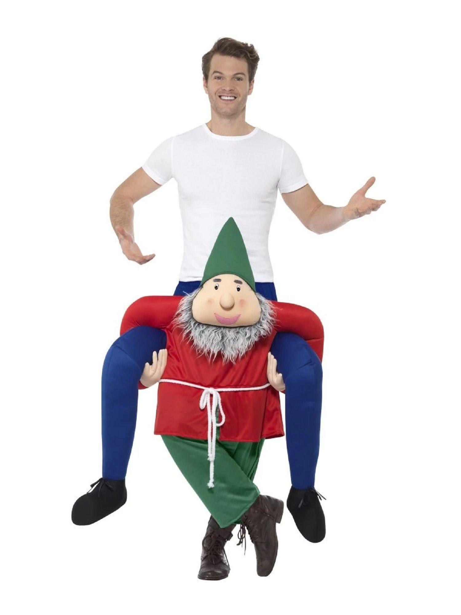 White and Red Piggyback Gnome Unisex Adult Christmas Costume #gnomecostume