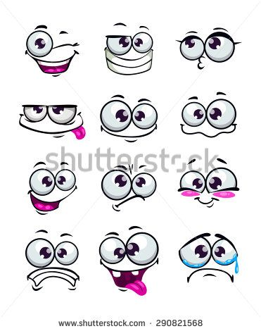 set of funny cartoon faces different emotions isolated on white rh pinterest com funny faces pics cartoons funny cartoons faces to draw
